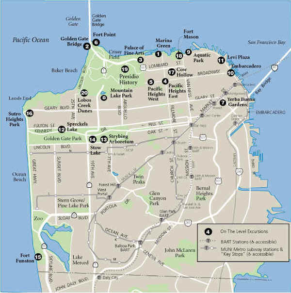 Exploring San Francisco on the Level,  Marilyn Straka © 2000  Map by Ben Pease